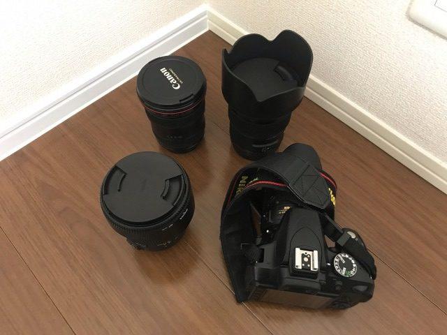 カメラ高く売れるドットコムで売りに出したカメラとレンズ
